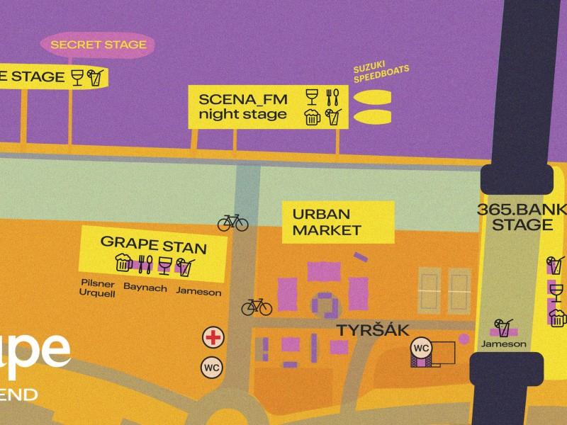 Mapa areálu na Grape víkend ()